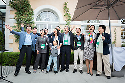 """17 June 2018, Bogis-Bossey, Switzerland: Representatives of churches worldwide gathered at the World Council of Churches Ecumenical Institute at Château de Bossey on 17 June, for a celebration to mark the 70th anniversary of the World Council of Churches. Taking place in connection with the WCC Central Committee meeting on 15-21 June, the event saw participation from a delegation from North Korea, as well as South Korea. At the end of the celebrations, North and South Koreans sang together the song """"Arirang"""", a more than 600 year-old Korean folk song, by many considered as the unofficial national anthem of Korea. """"The song is about love, about knowing that if you love me so much, even if you may go far away, we know that you will always come back, so we can be together as one, again,"""" explained one of the South Koreans. Ri Kum Gyung beats the drum, and Rhee Hanbeet from the WCC youth commission, ECHOS, plays the piano to the song Arirang."""