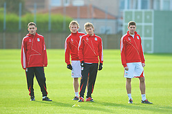 LIVERPOOL, ENGLAND - Tuesday, December 8, 2009: Liverpool's L-R Fabio Aurelio, Dirk Kuyt, Lucas Leiva and captain Steven Gerrard MBE during a training session at Melwood ahead of the UEFA Champions League Group E match against AFC Fiorentina. (Pic by David Rawcliffe/Propaganda)