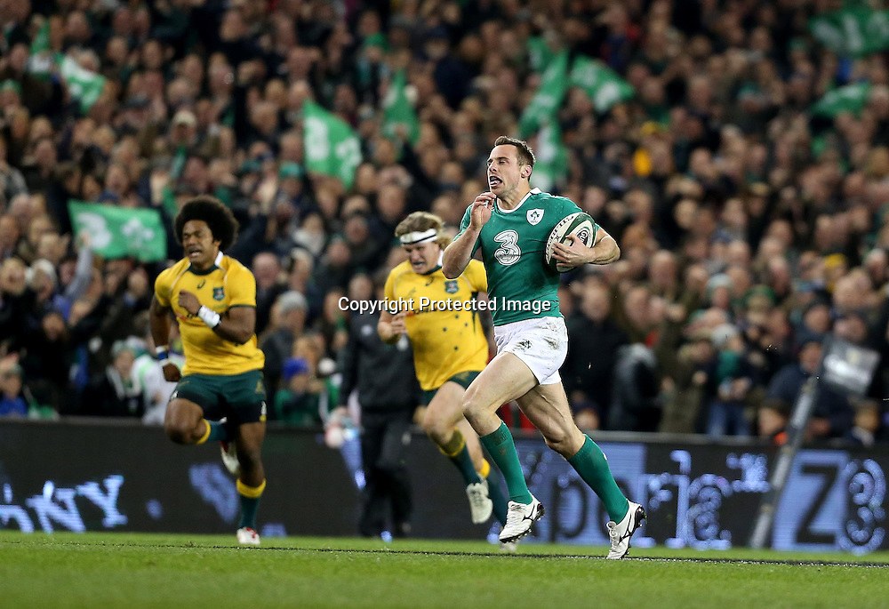 Guinness Series, Aviva Stadium, Dublin 22/11/2014<br /> Ireland vs Australia<br /> Ireland's Tommy Bowe runs in for their second try <br /> Mandatory Credit &copy;INPHO/Dan Sheridan