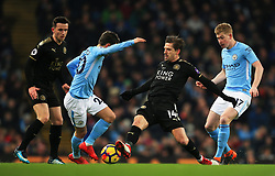 Adrien Silva of Leicester City tackles Bernardo Silva of Manchester City - Mandatory by-line: Matt McNulty/JMP - 10/02/2018 - FOOTBALL - Etihad Stadium - Manchester, England - Manchester City v Leicester City - Premier League