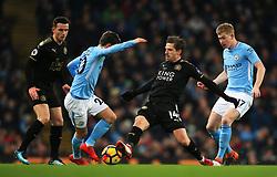 Adrien Silva of Leicester City tackles Bernardo Silva of Manchester City - Mandatory by-line: Matt McNulty/JMP - 10/02/2018 - FOOTBALL - Etihad Stadium - Manchester, England - Manchester City v Leicester City - Premier League