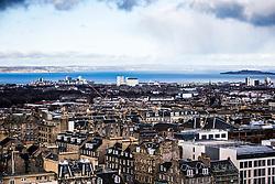 Wind turbines in Fife and Edinburgh as seen from the Edinburgh Castle Esplanade.