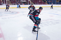 KELOWNA, CANADA - SEPTEMBER 5: Kyle Pow #21 of the Kelowna Rockets skates against the Kamloops Blazers on September 5, 2017 at Prospera Place in Kelowna, British Columbia, Canada.  (Photo by Marissa Baecker/Shoot the Breeze)  *** Local Caption ***
