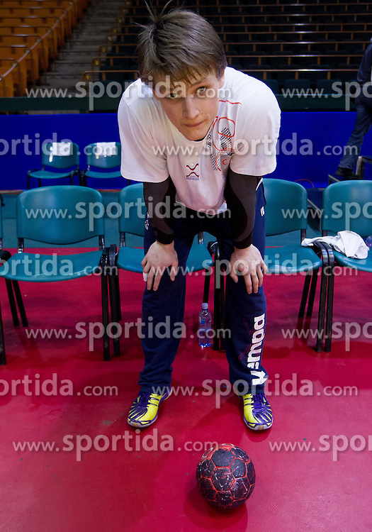 Jure Dolenec of Slovenia during practice session of Slovenia National Handball team during Main Round of 10th EHF European Handball Championship Serbia 2012, on January 21, 2012 in Spens Sports Center, Novi Sad, Serbia. (Photo By Vid Ponikvar / Sportida.com)