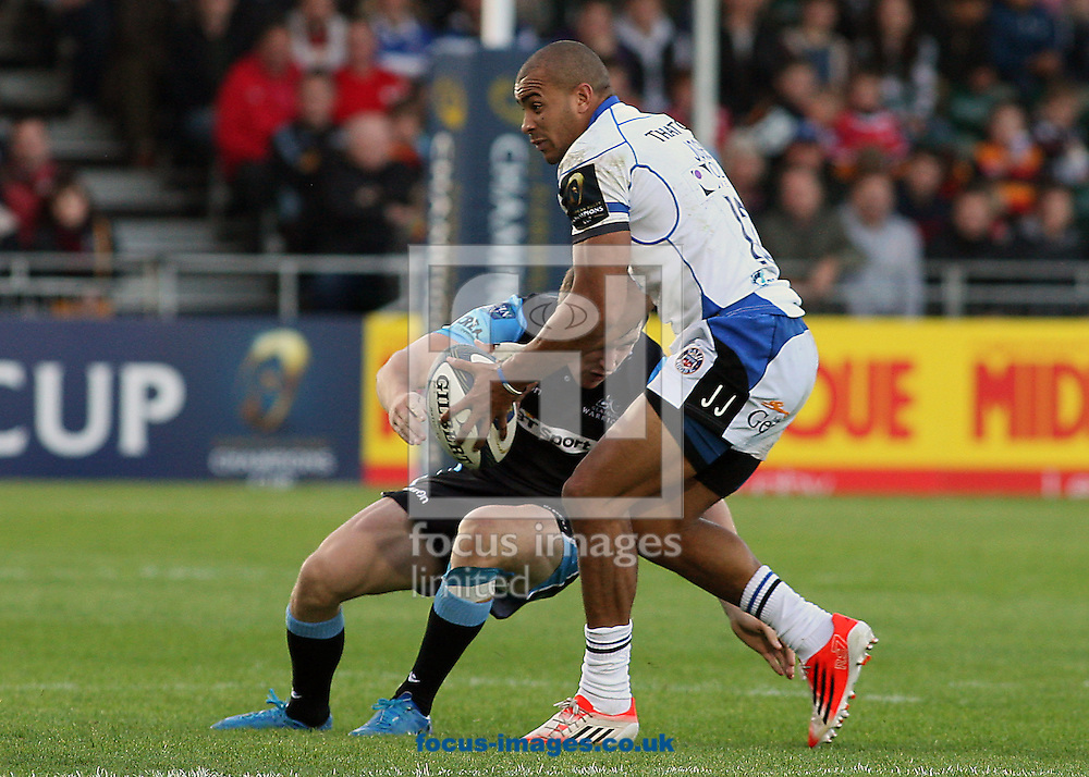 Jonathan Joseph of Bath Rugby during the European Rugby Champions Cup match at Scotstoun Stadium, Glasgow<br /> Picture by Ian Buchan/Focus Images Ltd +44 7895 982640<br /> 18/10/2014