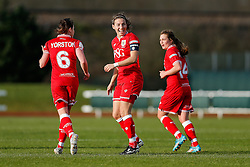 Grace McCatty (capt) of Bristol City Women celebrates scoring a goal to make it 5-1 - Mandatory byline: Rogan Thomson/JMP - 14/02/2016 - FOOTBALL - Stoke Gifford Stadium - Bristol, England - Bristol City Women v Queens Park Rangers Ladies - SSE Women's FA Cup Third Round Proper.
