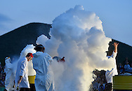 27/07/16 - SAINT OURS LES ROCHES - PUY DE DOME - FRANCE - Soiree de l ete. La troupe Elixir lors des Nocturnes de Vulcania - Photo Jerome CHABANNE