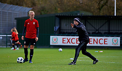 NEWPORT, WALES - Tuesday, November 6, 2018: Wales' Women's national team manager Jayne Ludlow with captain Sophie Ingle during a training session at Dragon Park ahead of two games against Portugal. (Pic by Paul Greenwood/Propaganda)