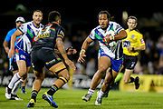 Agnatius Paasi looks to take on the defence of Viliame Kikau. Penrith Panthers v Vodafone Warriors. NRL Rugby League. Penrith Stadium, Sydney, Australia. 17th May 2019. Copyright Photo: David Neilson / www.photosport.nz