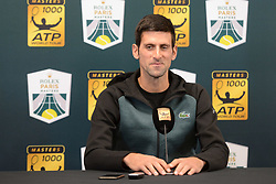 October 28, 2018 - Paris, France - NOVAK DJOKOVIC of Serbia speaks with the media prior to the start of the Rolex Paris Masters tennis tournament in Paris France. (Credit Image: © Christopher Levy/ZUMA Wire)