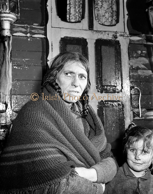 Ballinasloe Tinker Housing Story - Mrs Bridget Stokes, a tinker on the Bog Rd, Ballinasloe, Co. Galway.28/01/1957