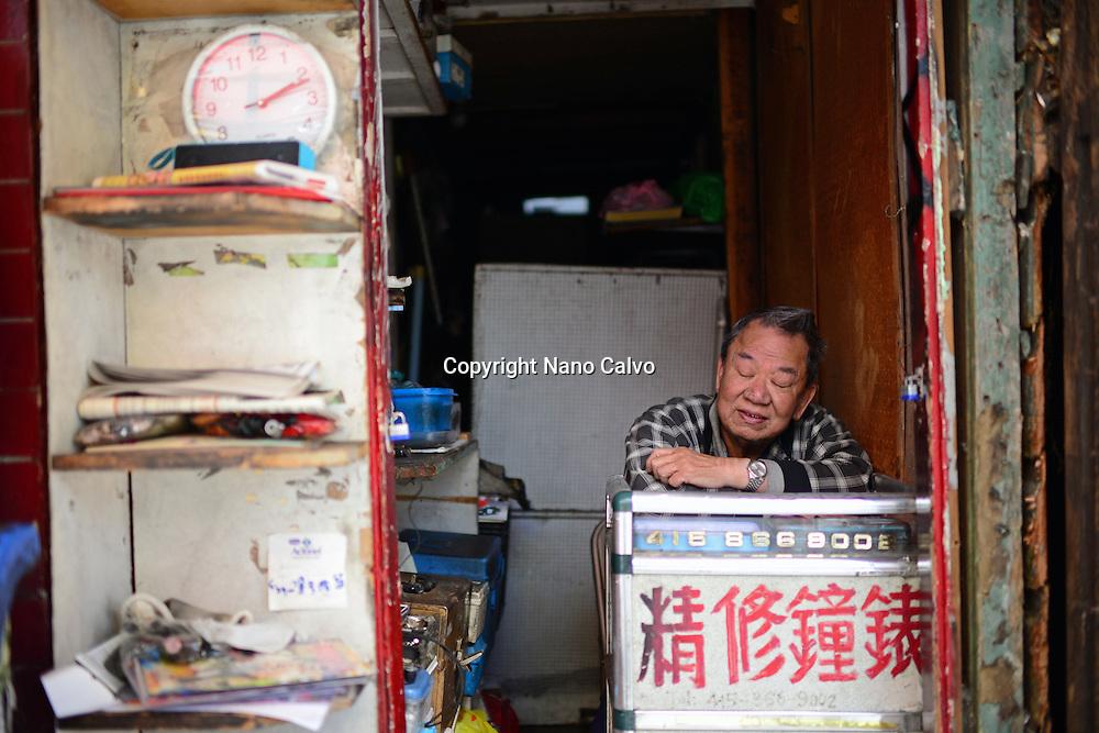 Portrait of shop tender in Chinatown, San Francisco.