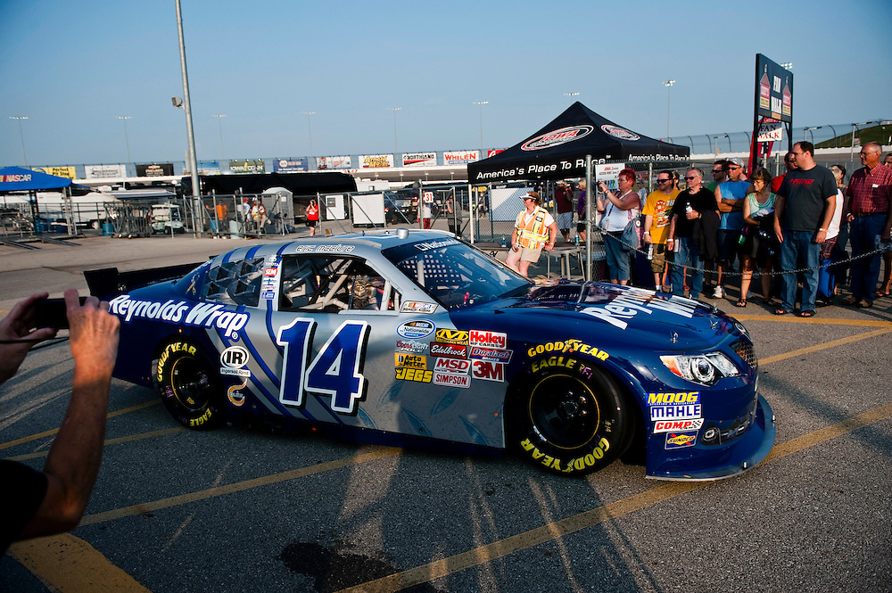 NEWTON, IOWA. -AUG. 1, 2014: NASCAR driver Eric McClure entering the track in preparation for the NASCAR Nationwide Series auto race at Iowa Speedway Friday, Aug. 1, 2014. Lauren Justice for The New York Times