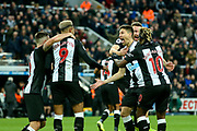 *CORR* Federico Fernandez (#18) of Newcastle United celebrates Newcastle United's second goal (2-1) scored by Ciaran Clark (#2) of Newcastle United during the Premier League match between Newcastle United and Bournemouth at St. James's Park, Newcastle, England on 9 November 2019.