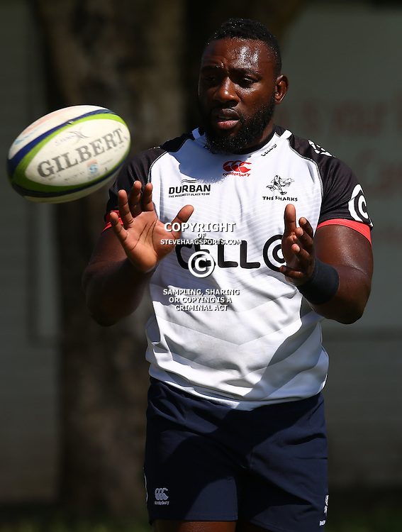 DURBAN, SOUTH AFRICA - FEBRUARY 16: Tendai Beast Mtawarira during the Cell C Sharks training session at Growthpoint Kings Park on February 16, 2017 in Durban, South Africa. (Photo by Steve Haag/Gallo Images)