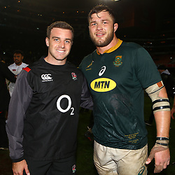 George Ford of England with Duane Vermeulen of South Africa during the 2018 Castle Lager Incoming Series 3rd Test match between South Africa and England at Newlands Rugby Stadium,Cape Town,South Africa. 23,06,2018 Photo by (Steve Haag JMP)