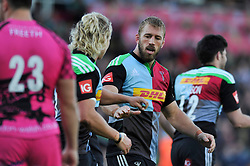 Chris Robshaw of Harlequins congratulates Matt Hopper on his try - Photo mandatory by-line: Patrick Khachfe/JMP - Mobile: 07966 386802 04/10/2014 - SPORT - RUGBY UNION - London - The Twickenham Stoop - Harlequins v London Welsh - Aviva Premiership