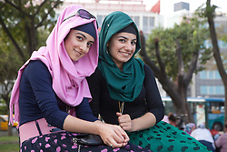 Turkish girls at a park in Istanbul, Turkey, September 15, 2012. Photo by Silvia Baron / i-Images.