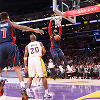 17 November 2013: Detroit Pistons center Andre Drummond (0) goes for the dunk on an alley-oop pass by Detroit Pistons point guard Brandon Jennings (7) during the Los Angeles Lakers 114-99 victory over the Detroit Pistons at the Staples Center, Los Angeles, California, USA.