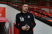 Southend United defender Ryan Leonard (18) arrives to inspect the pitch during the EFL Sky Bet League 1 match between Walsall and Southend United at the Banks's Stadium, Walsall, England on 28 October 2017. Photo by Alan Franklin.