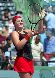 March 28, 2018 - Key Biscayne, FL, USA - Elina Svitolina, of Ukraine, celebrates after defeating Jelena Ostapenko, of Latvia, 7-6, 7-6 during their match at Miami Open tennis tournament on Wednesday, March 28, 2018 at Crandon Park Tennis Center in Key Biscayne, Fla. (Credit Image: © David Santiago/TNS via ZUMA Wire)