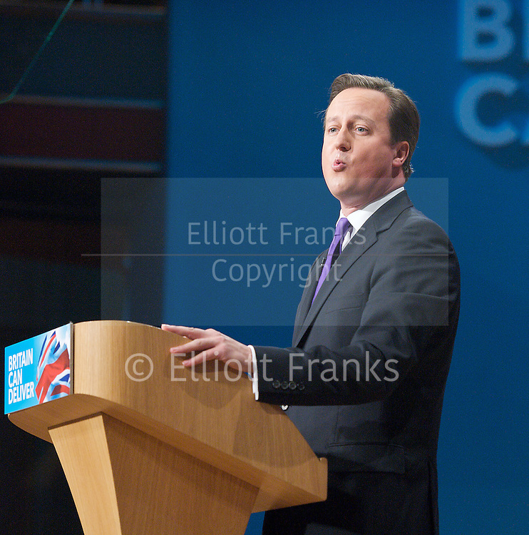 Conservative Party Conference, ICC, Birmingham, Great Britain <br /> 10th October 2012 <br />  Day 4<br /> <br /> Rt Hon David Cameron MP <br /> Prime minister <br /> keynote speech <br /> <br /> <br /> <br /> Photograph by Elliott Franks<br /> <br /> United Kingdom<br /> Tel 07802 537 220 <br /> elliott@elliottfranks.com<br /> <br /> &copy;2012 Elliott Franks<br /> Agency space rates apply