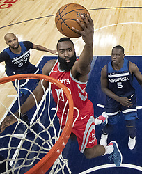 April 23, 2018 - Minneapolis, MN, USA - Houston Rockets' James Harden (13) attempts a shot in the first half against the Minnesota Timberwolves in Game 4 of their series Monday, April 23, 2018 at the Target Center in Minneapolis, Minn. The Rockets won, (Credit Image: © Carlos Gonzalez/TNS via ZUMA Wire)