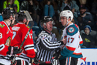 KELOWNA, CANADA - JANUARY 21: Alex Overhardt #17 of the Portland Winterhawks exchanges words with Rodney Southam #17 of the Kelowna Rockets on January 21, 2017 at Prospera Place in Kelowna, British Columbia, Canada.  (Photo by Marissa Baecker/Shoot the Breeze)  *** Local Caption ***