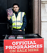 A programme seller outside of the stadium<br /> <br /> Photographer Simon King/Replay Images<br /> <br /> Under Armour Series - Wales v Tonga - Saturday 17th November 2018 - Principality Stadium - Cardiff<br /> <br /> World Copyright © Replay Images . All rights reserved. info@replayimages.co.uk - http://replayimages.co.uk