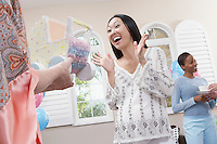 Excited Woman at Her Baby Shower half length