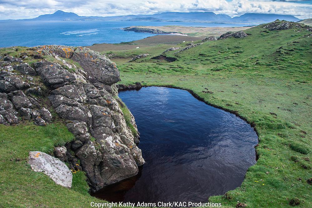 Freshwater pond in summer on Clare Island, western Ireland.