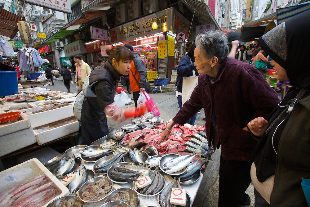 Hong Kong. Central street market. Fish and seafood.
