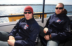 Ales Music and Andrej Tavzelj at whale watching boat, when some guys of Slovenian Team were celebrating an anniversary of playing for the team, during IIHF WC 2008 in Halifax,  on May 07, 2008, sea at Halifax, Nova Scotia, Canada. (Photo by Vid Ponikvar / Sportal Images)