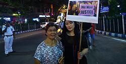 April 14, 2018 - Kolkata, West Bengal, India - A protest against Kathua in Kashmir gang rape and murder. (Credit Image: © Sandip Saha/Pacific Press via ZUMA Wire)