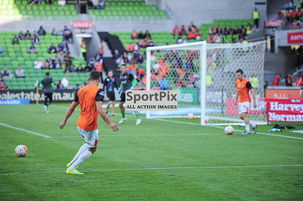 Jack Hingert of Brisbane Roar FC during warm up at the Hyundai A-League, January 15th 2016, RD15 match between Melbourne Victory FC v Brisbane Roar FC in a 4:0 win to Victory in a comfortable win over Roar at Aami Park,  Melbourne, Australia. © Mark Avellino | SportPix.org.uk