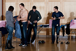 Peter Pucelj, Sebastian Skube and Gasper Marguc of Slovenian Handball Men National Team when they get new clothes of Sportina Group for the EHF European Championship EURO 2012 in Serbia, on January 11, 2011, in Zrece, Slovenia. (Photo by Vid Ponikvar / Sportida)