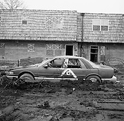 Damaged homes and car in Lakeview area of New Olreans, six months post Hurricane Katrina