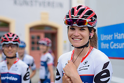 Joëlle Numainville waits to be called to the stage to sign in at Thüringen Rundfarht 2016 - Stage 7 a 131 km road race starting and finishing in Gera, Germany on 21st July 2016.