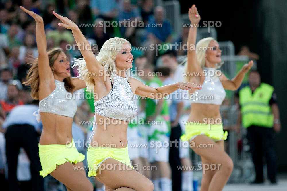 Cheerleaders during basketball match between National teams of Slovenia and France in Quarterfinal Match of U20 Men European Championship Slovenia 2012, on July 20, 2012 in SRC Stozice, Ljubljana, Slovenia. (Photo by Matic Klansek Velej / Sportida.com)