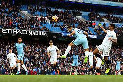 Sergio Aguero of Manchester City fires a header at goal  - Mandatory by-line: Matt McNulty/JMP - 05/02/2017 - FOOTBALL - Etihad Stadium - Manchester, England - Manchester City v Swansea City - Premier League