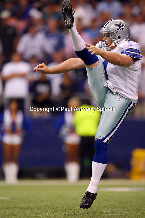 IRVING, TX - SEPTEMBER 15:  Punter Mat McBriar #1 of the Dallas Cowboys punts the ball during the game against the Philadelphia Eagles at Texas Stadium on September 15, 2008 in Irving, Texas. The Cowboys defeated the Eagles 41-37. ©Paul Anthony Spinelli *** Local Caption *** Mat McBriar