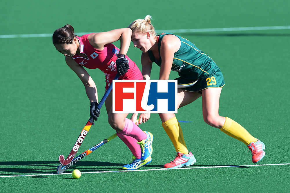 JOHANNESBURG, SOUTH AFRICA - JULY 22: Tarryn Glasby of South Africa tackles Mami Ichitani of Japan during day 8 of the FIH Hockey World League Women's Semi Finals 5th-6th place match between Japan and South Africa at Wits University on July 22, 2017 in Johannesburg, South Africa. (Photo by Getty Images/Getty Images)