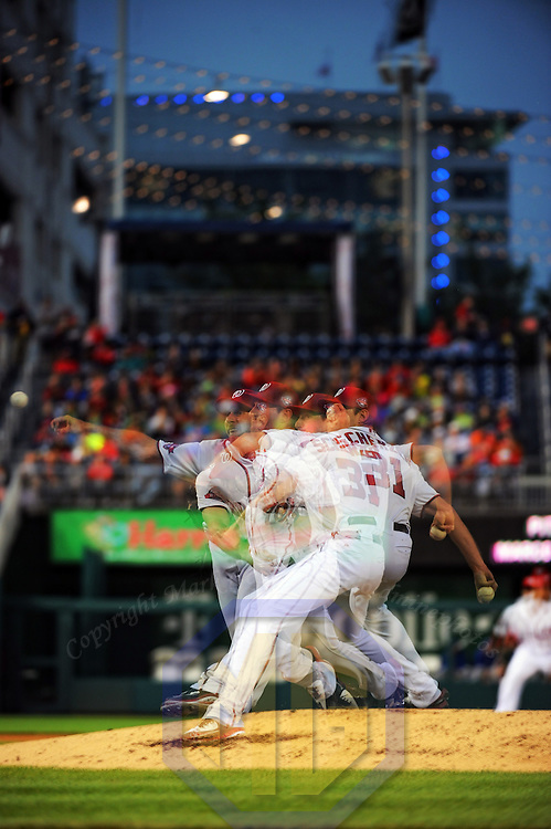 2 June 2015:  Washington Nationals starting pitcher Max Scherzer (31) pitches in an in camera multiple exposure at Nationals Park in Washington, D.C. where the Toronto Blue Jays defeated the Washington Nationals, 7-3. (Photograph by Mark Goldman - Goldminephotos)