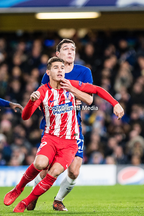 LONDON,ENGLAND - DECEMBER 05: Atletico Madrid (19) Lucas Hernández, Chelsea (27) Andreas Christensen  during the UEFA Champions League group C match between Chelsea FC and Atletico Madrid at Stamford Bridge on December 5, 2017 in London, United Kingdom.  <br /> ( Photo by Sebastian Frej / MB Media )