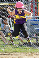 Warwick's McKayla Murphy is hit by a pitch during a District 19 Little League game in the Town of Wallkill on Wednesday, July 3, 2013.