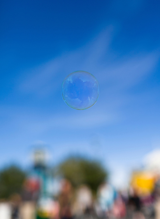 Closeup of a soap bubble floating in the air