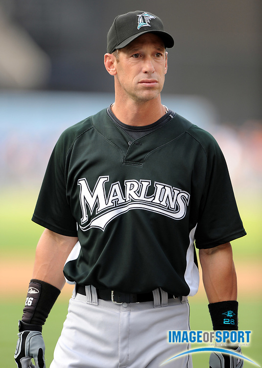 Jul 11, 2008; Los Angeles, CA, USA; Florida Marlins outfielder Luis Gonzalez (26) during batting practice before game at Dodger Stadium.