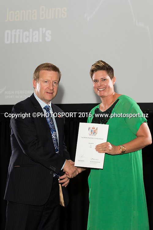 Hon. Jonathan Coleman presents certificate to Synchronised Swim Joanna Burns at the High Performance Sport NZ Waikato ceremony for the Prime Minister's Scholarship Awards, at Sir Don Rowlands Centre, Lake Karapiro, Cambridge, New Zealand, 20 April 2016. Copyright Photo: Stephen Barker / www.photosport.nz