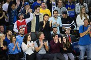 Golden State Warriors guard Stephen Curry (30) applauds his team from the bench during a NBA game between the Golden State Warriors and the Utah Jazz at Oracle Arena in Oakland, Calif., on December 27, 2017. (Stan Olszewski/Special to S.F. Examiner)