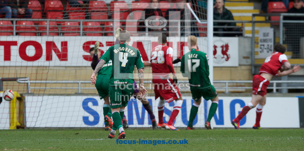 Picture by Alan Stanford/Focus Images Ltd +44 7915 056117.16/03/2013.Romain Vincelot (far right) scores for  Leyton Orient  during the npower League 1 match at the Matchroom Stadium, London..